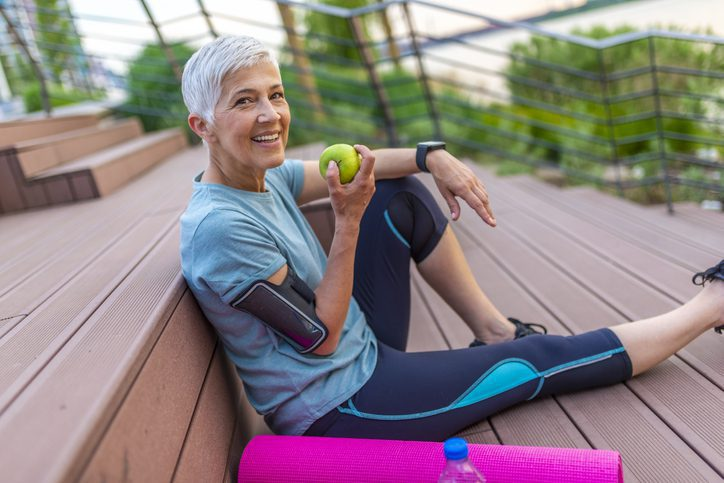 healthy old woman on sports attire